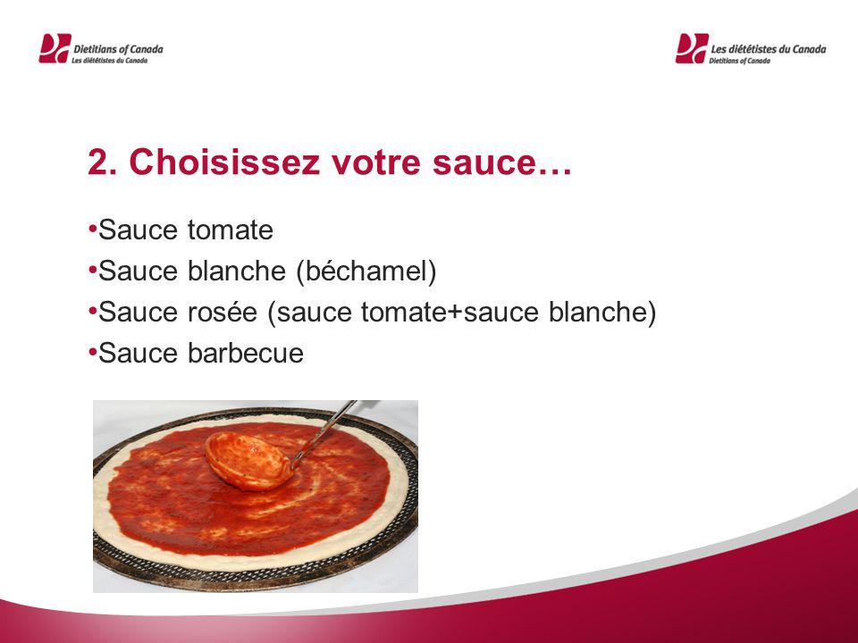 2. Choisissez votre sauce… Sauce tomate Sauce blanche (béchamel) Sauce rosée (sauce tomate+sauce blanche) Sauce barbecue