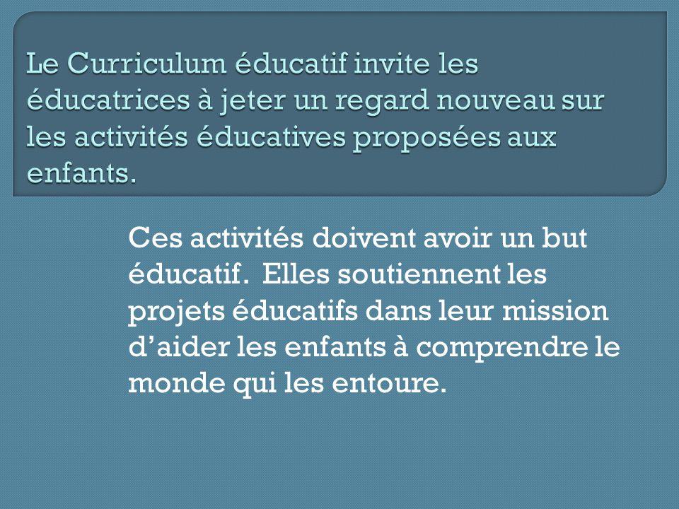 Ces activités doivent avoir un but éducatif. Elles soutiennent les projets éducatifs dans leur mission daider les enfants à comprendre le monde qui le