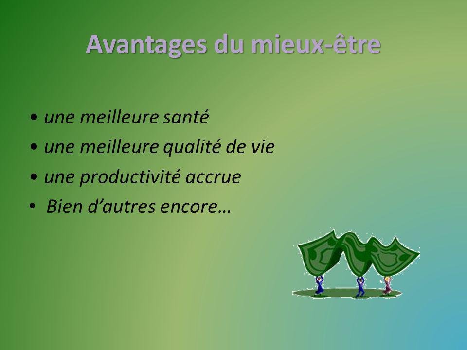 Avantages du mieux-être une meilleure santé une meilleure qualité de vie une productivité accrue Bien dautres encore…