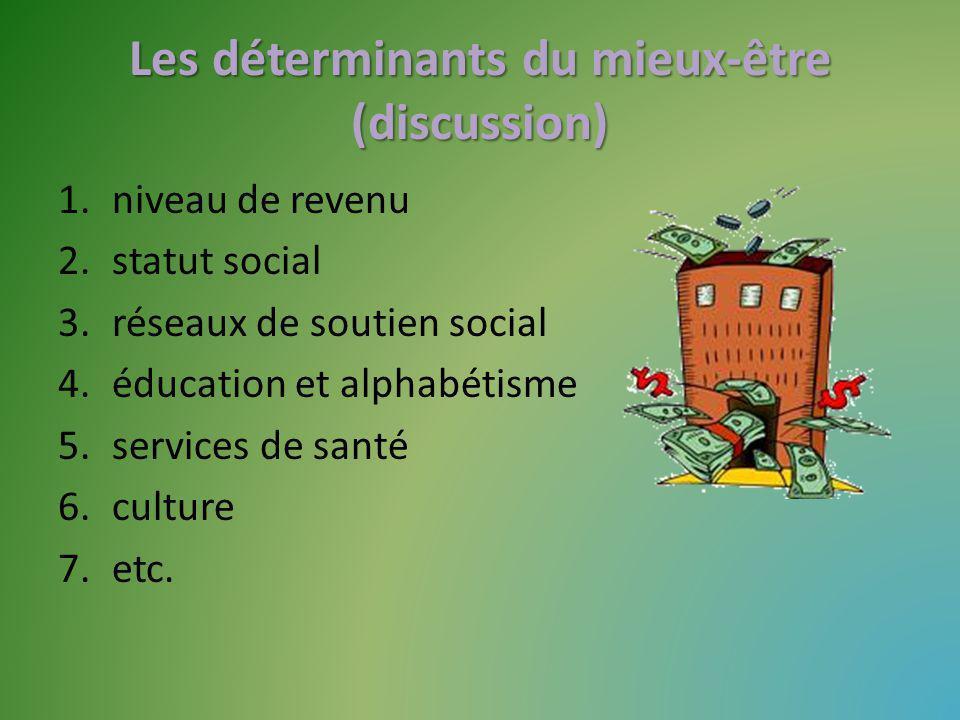 Les déterminants du mieux-être (discussion) 1.niveau de revenu 2.statut social 3.réseaux de soutien social 4.éducation et alphabétisme 5.services de santé 6.culture 7.etc.