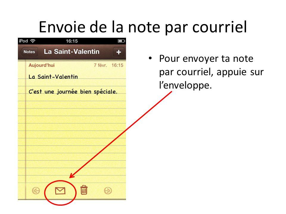 Envoie de la note par courriel Pour envoyer ta note par courriel, appuie sur lenveloppe.