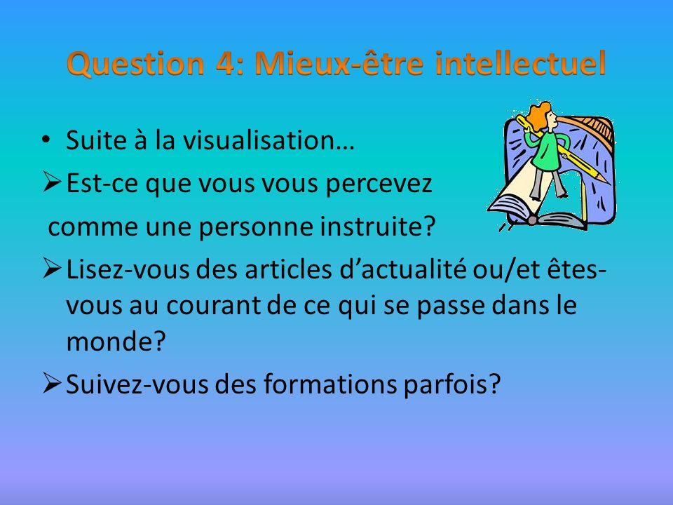 Suite à la visualisation… Est-ce que vous vous percevez comme une personne instruite.