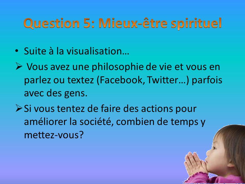 Suite à la visualisation… Vous avez une philosophie de vie et vous en parlez ou textez (Facebook, Twitter…) parfois avec des gens.