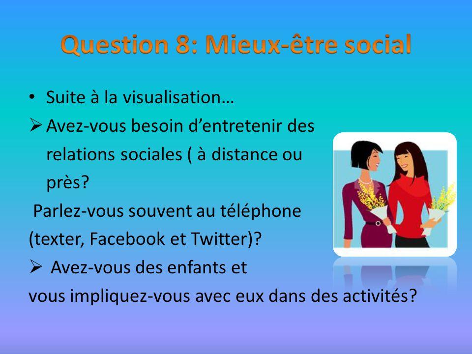 Suite à la visualisation… Avez-vous besoin dentretenir des relations sociales ( à distance ou près.
