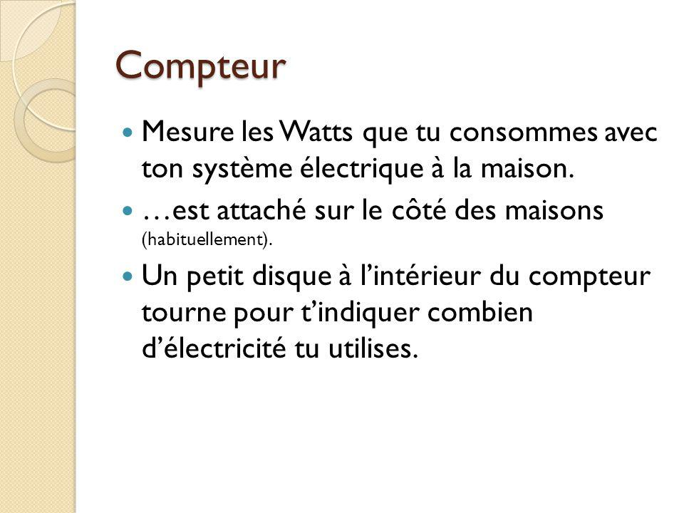 Compteur Mesure les Watts que tu consommes avec ton système électrique à la maison.