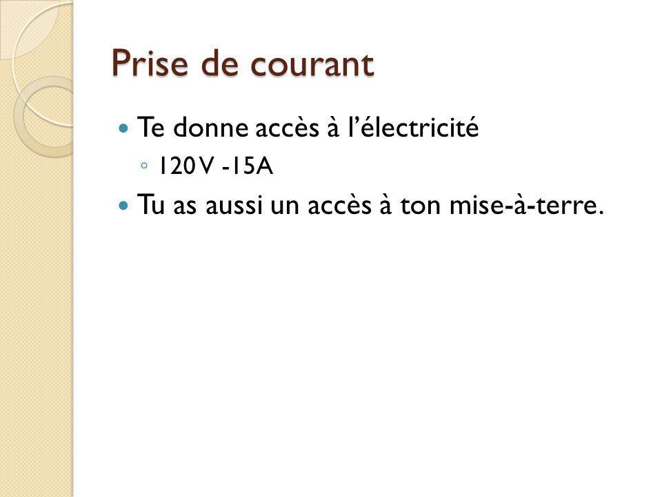 Prise de courant Te donne accès à lélectricité 120 V -15A Tu as aussi un accès à ton mise-à-terre.