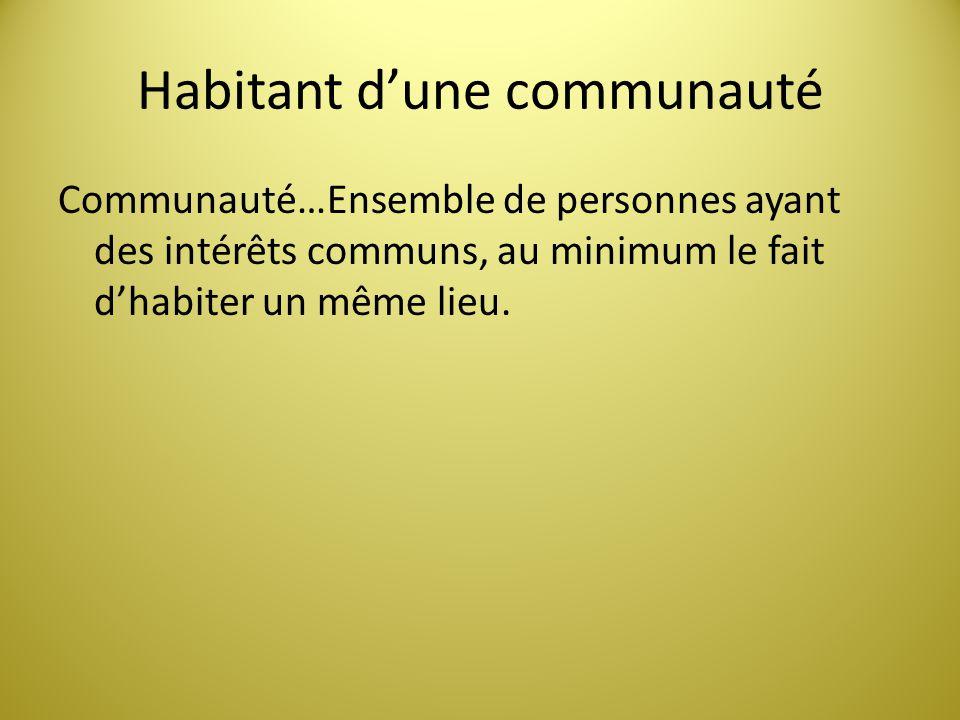 Habitant dune communauté Communauté…Ensemble de personnes ayant des intérêts communs, au minimum le fait dhabiter un même lieu.