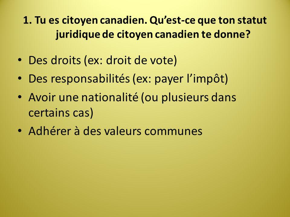 1. Tu es citoyen canadien. Quest-ce que ton statut juridique de citoyen canadien te donne? Des droits (ex: droit de vote) Des responsabilités (ex: pay