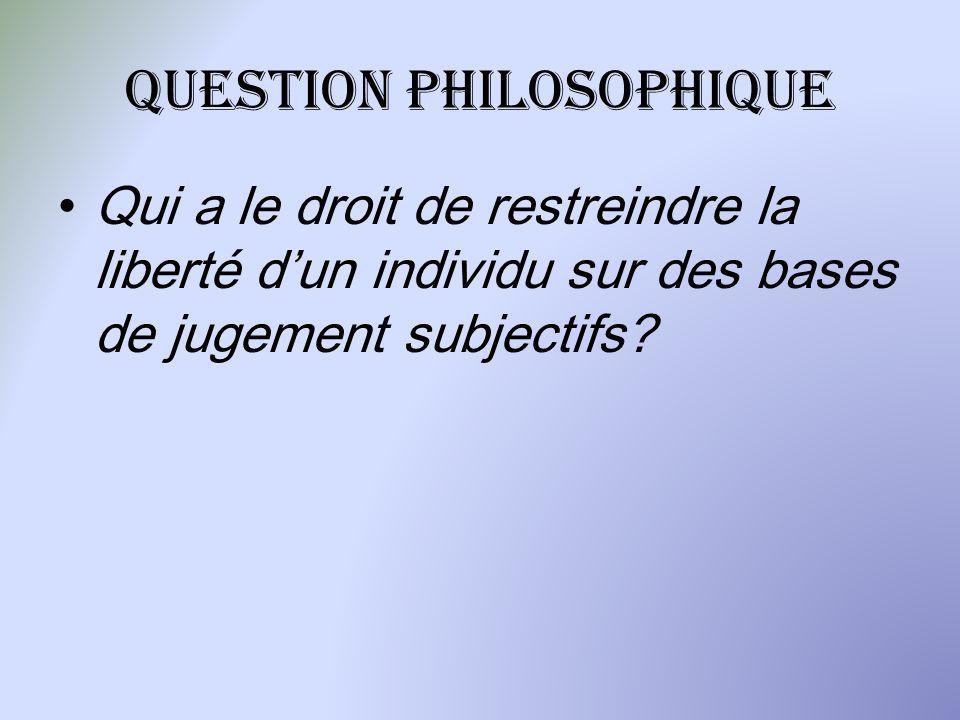 Question philosophique Qui a le droit de restreindre la liberté dun individu sur des bases de jugement subjectifs?