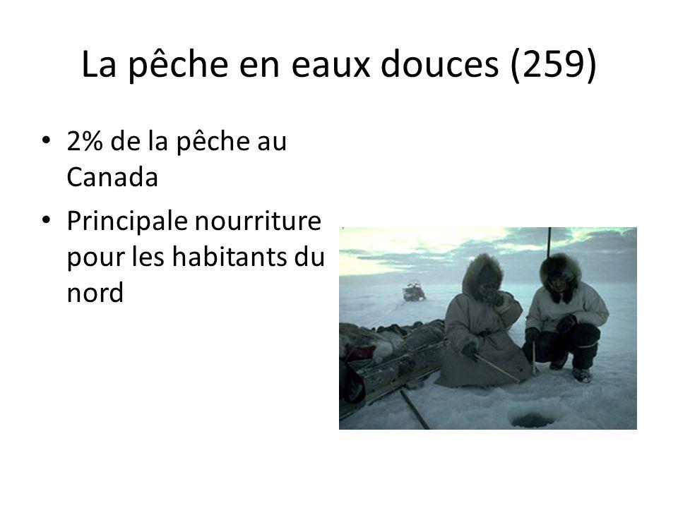 La pêche en eaux douces (259) 2% de la pêche au Canada Principale nourriture pour les habitants du nord