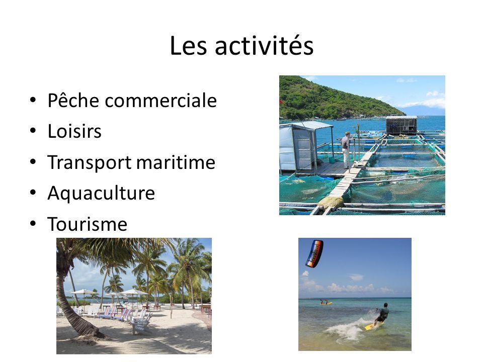 Les activités Pêche commerciale Loisirs Transport maritime Aquaculture Tourisme