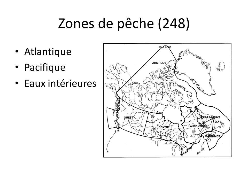 Zones de pêche (248) Atlantique Pacifique Eaux intérieures