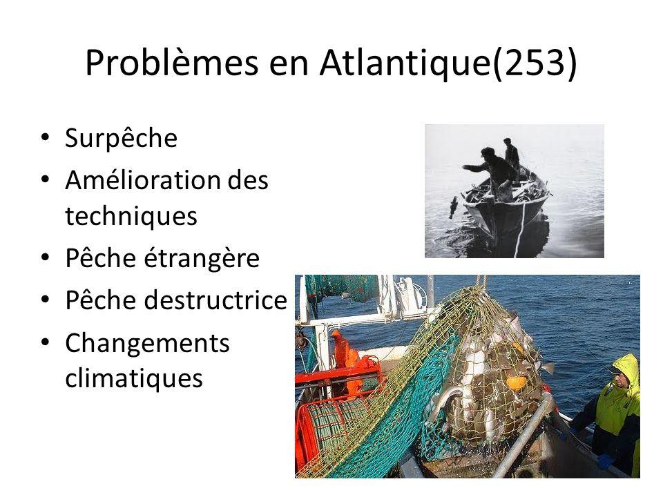 Problèmes en Atlantique(253) Surpêche Amélioration des techniques Pêche étrangère Pêche destructrice Changements climatiques