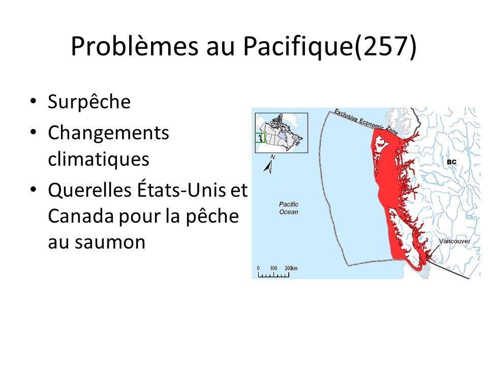Solutions possibles Limiter les permis Réduire les quotas Contrôler la pêche étrangère Moratoire (fermeture de zones de pêche) Aquaculture