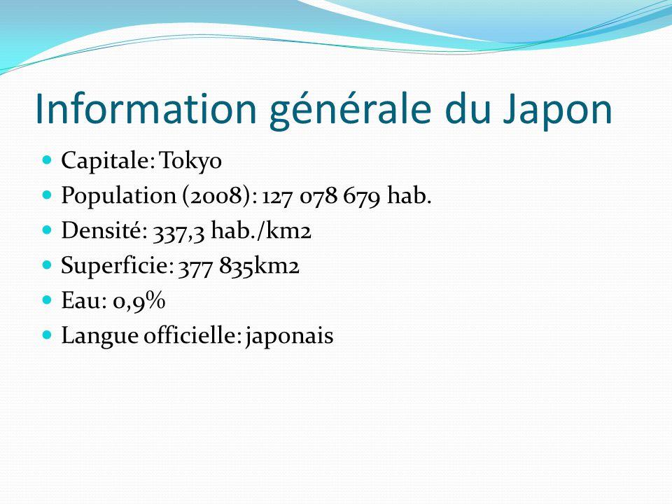 Information générale du Japon Capitale: Tokyo Population (2008): 127 078 679 hab. Densité: 337,3 hab./km2 Superficie: 377 835km2 Eau: 0,9% Langue offi