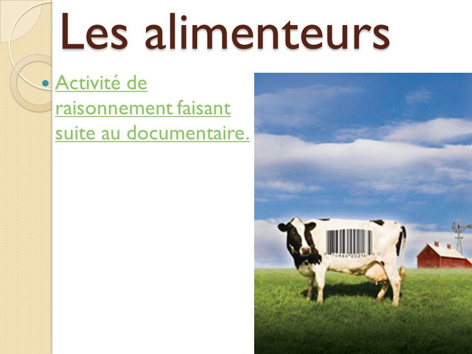 Les alimenteurs Activité de raisonnement faisant suite au documentaire. Activité de raisonnement faisant suite au documentaire.
