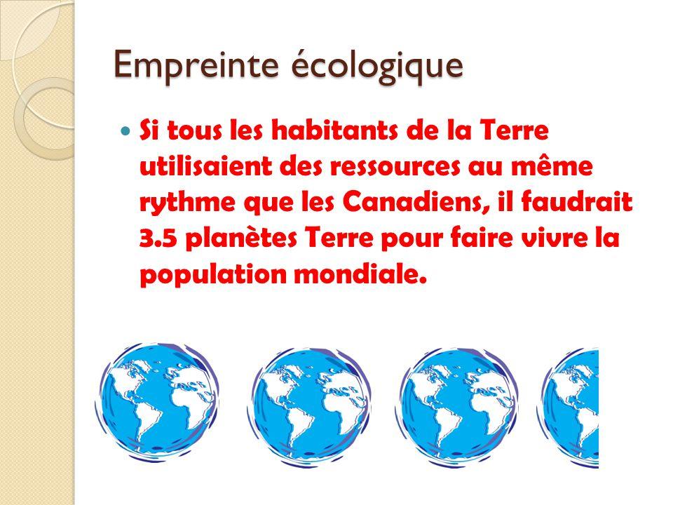 Si tous les habitants de la Terre utilisaient des ressources au même rythme que les Canadiens, il faudrait 3.5 planètes Terre pour faire vivre la popu