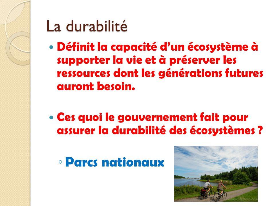 La durabilité Définit la capacité dun écosystème à supporter la vie et à préserver les ressources dont les générations futures auront besoin. Ces quoi