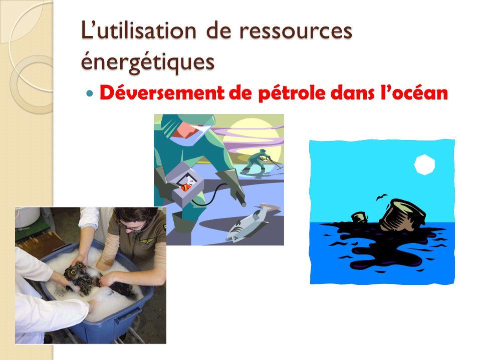 Lutilisation de ressources énergétiques Déversement de pétrole dans locéan