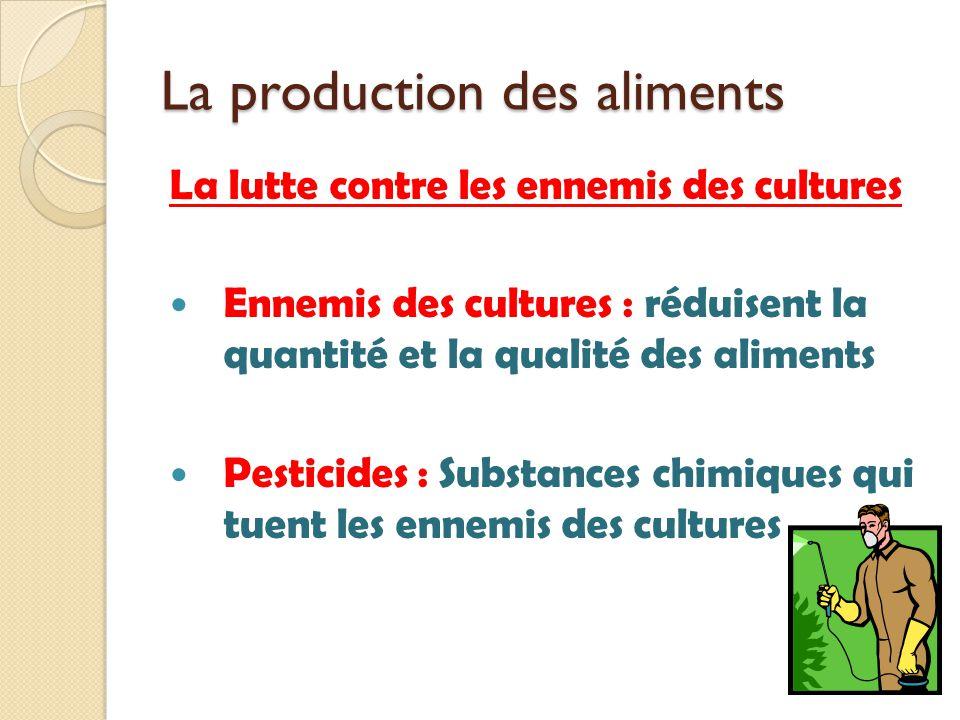 La production des aliments La lutte contre les ennemis des cultures Ennemis des cultures : réduisent la quantité et la qualité des aliments Pesticides