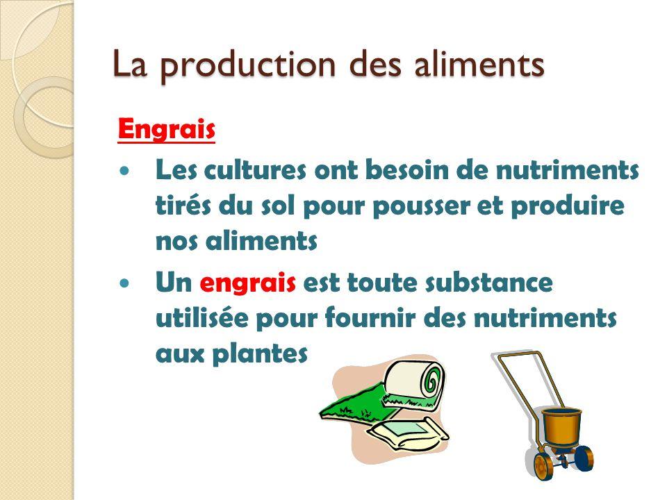 La production des aliments Engrais Les cultures ont besoin de nutriments tirés du sol pour pousser et produire nos aliments Un engrais est toute subst