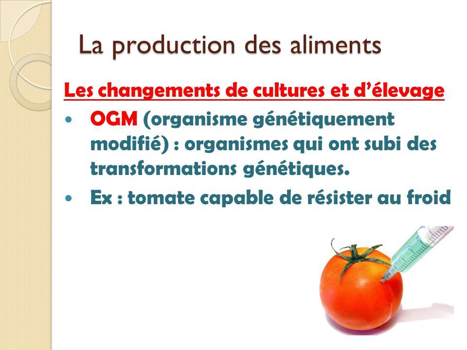 La production des aliments Les changements de cultures et délevage OGM (organisme génétiquement modifié) : organismes qui ont subi des transformations