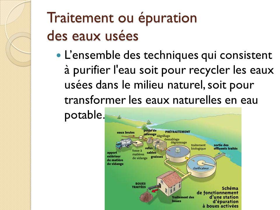 Traitement ou épuration des eaux usées Lensemble des techniques qui consistent à purifier l'eau soit pour recycler les eaux usées dans le milieu natur