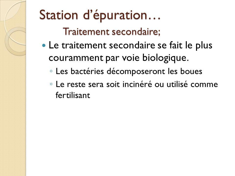 Station dépuration… Traitement secondaire; Le traitement secondaire se fait le plus couramment par voie biologique. Les bactéries décomposeront les bo