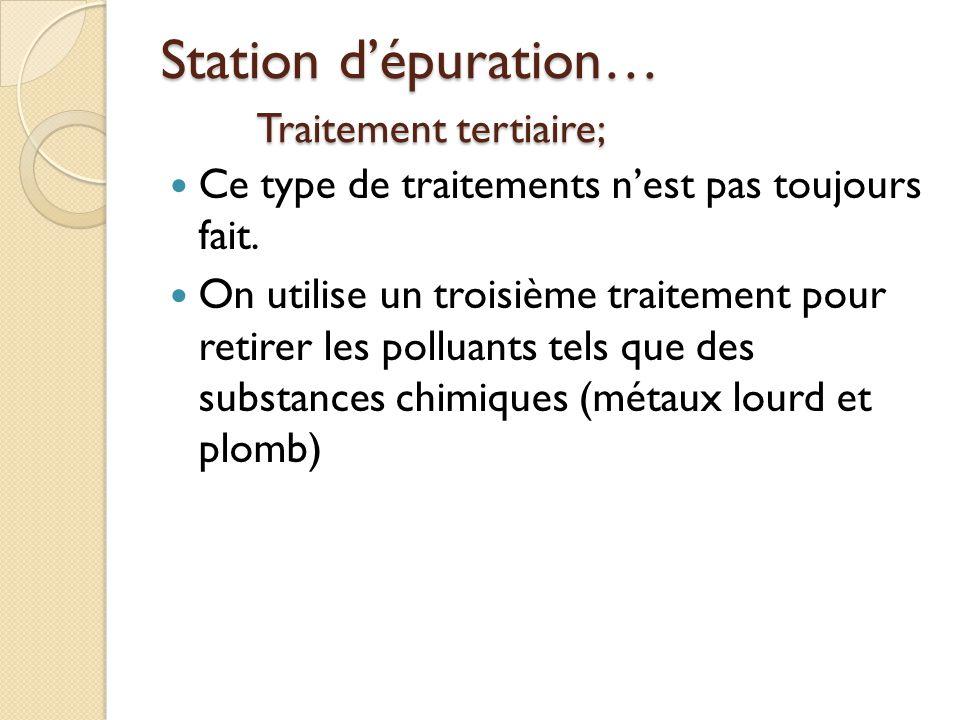 Station dépuration… Traitement tertiaire; Ce type de traitements nest pas toujours fait. On utilise un troisième traitement pour retirer les polluants