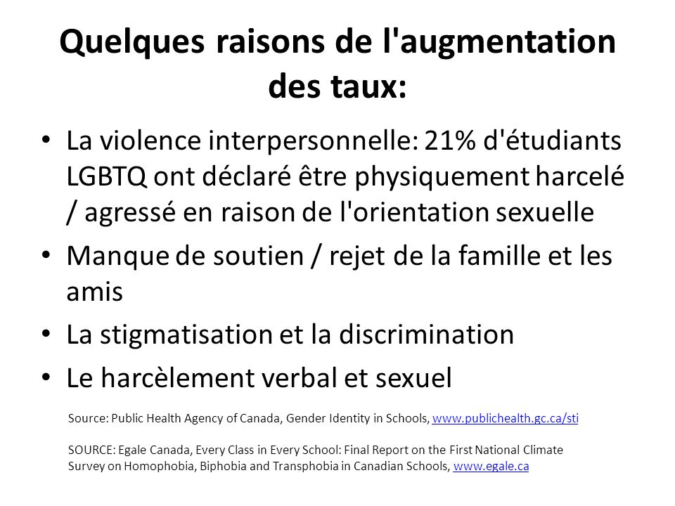 Quelques raisons de l augmentation des taux: La violence interpersonnelle: 21% d étudiants LGBTQ ont déclaré être physiquement harcelé / agressé en raison de l orientation sexuelle Manque de soutien / rejet de la famille et les amis La stigmatisation et la discrimination Le harcèlement verbal et sexuel Source: Public Health Agency of Canada, Gender Identity in Schools, www.publichealth.gc.ca/stiwww.publichealth.gc.ca/sti SOURCE: Egale Canada, Every Class in Every School: Final Report on the First National Climate Survey on Homophobia, Biphobia and Transphobia in Canadian Schools, www.egale.cawww.egale.ca
