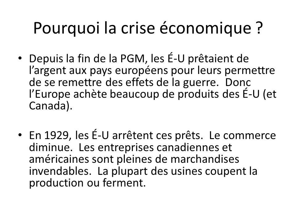 Pourquoi la crise économique .