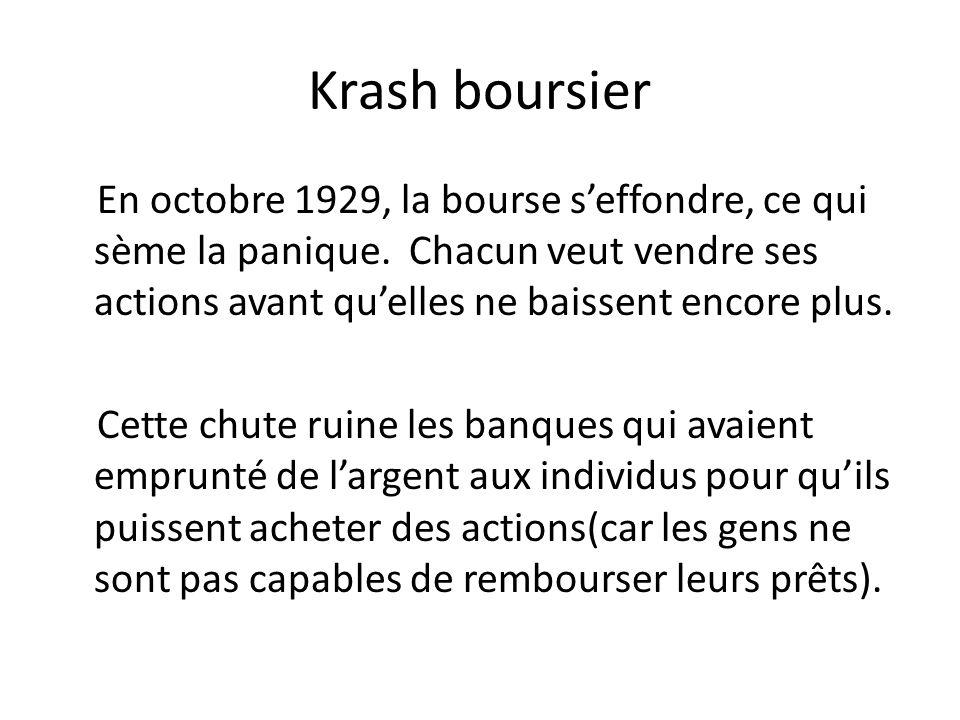 Krash boursier En octobre 1929, la bourse seffondre, ce qui sème la panique.