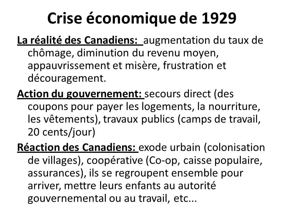 Crise économique de 1929 La réalité des Canadiens: augmentation du taux de chômage, diminution du revenu moyen, appauvrissement et misère, frustration et découragement.