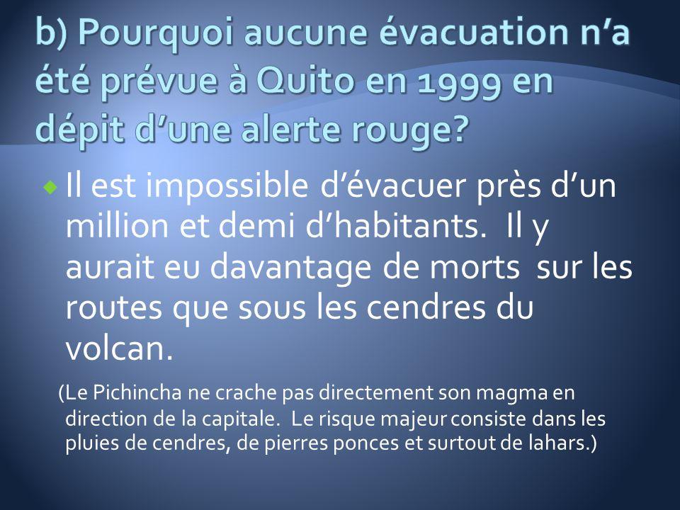 Il est impossible dévacuer près dun million et demi dhabitants. Il y aurait eu davantage de morts sur les routes que sous les cendres du volcan. (Le P