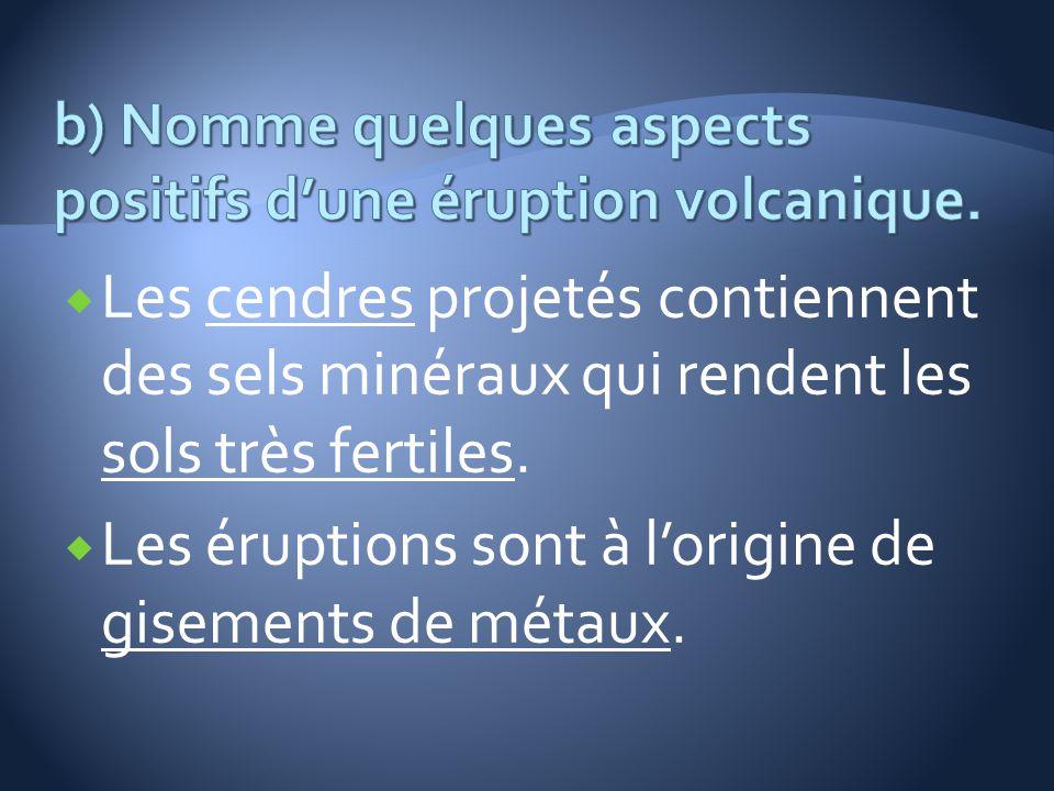 Les cendres projetés contiennent des sels minéraux qui rendent les sols très fertiles. Les éruptions sont à lorigine de gisements de métaux.