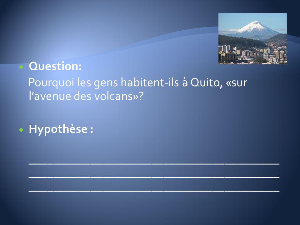 Question: Pourquoi les gens habitent-ils à Quito, «sur lavenue des volcans»? Hypothèse : _________________________________________ ___________________