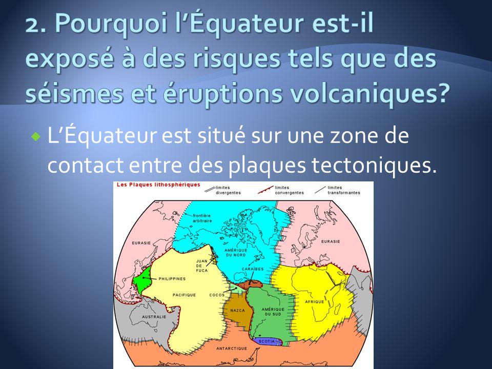 LÉquateur est situé sur une zone de contact entre des plaques tectoniques.