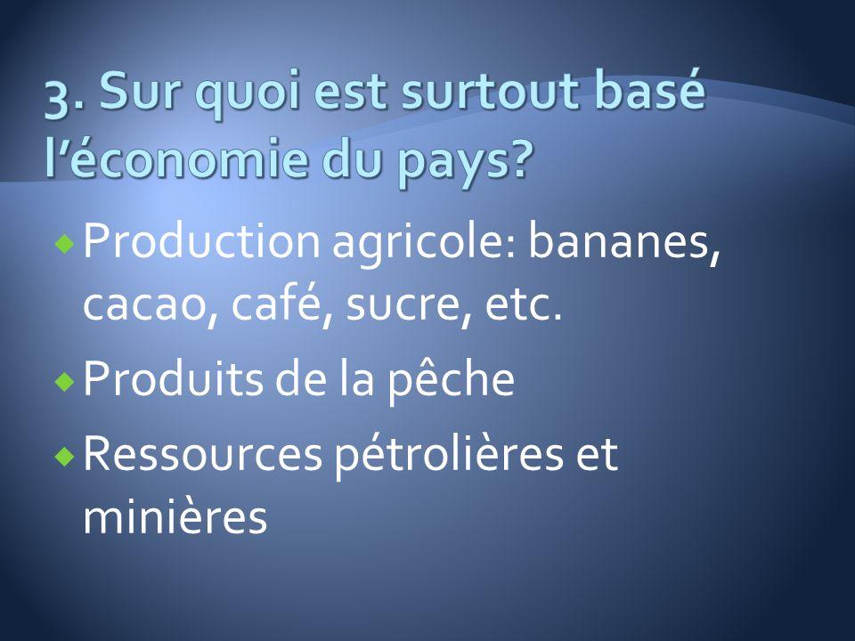 Production agricole: bananes, cacao, café, sucre, etc. Produits de la pêche Ressources pétrolières et minières