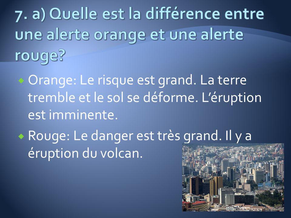Orange: Le risque est grand. La terre tremble et le sol se déforme. Léruption est imminente. Rouge: Le danger est très grand. Il y a éruption du volca