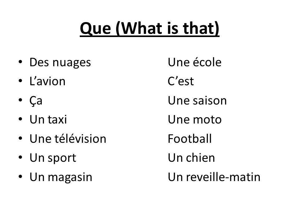 Que (What is that) Des nuages Une école Lavion Cest Ça Une saison Un taxi Une moto Une télévision Football Un sport Un chien Un magasin Un reveille-matin