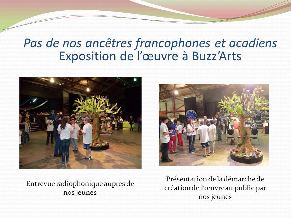 Pas de nos ancêtres francophones et acadiens Exposition de lœuvre à BuzzArts Entrevue radiophonique auprès de nos jeunes Présentation de la démarche de création de lœuvre au public par nos jeunes