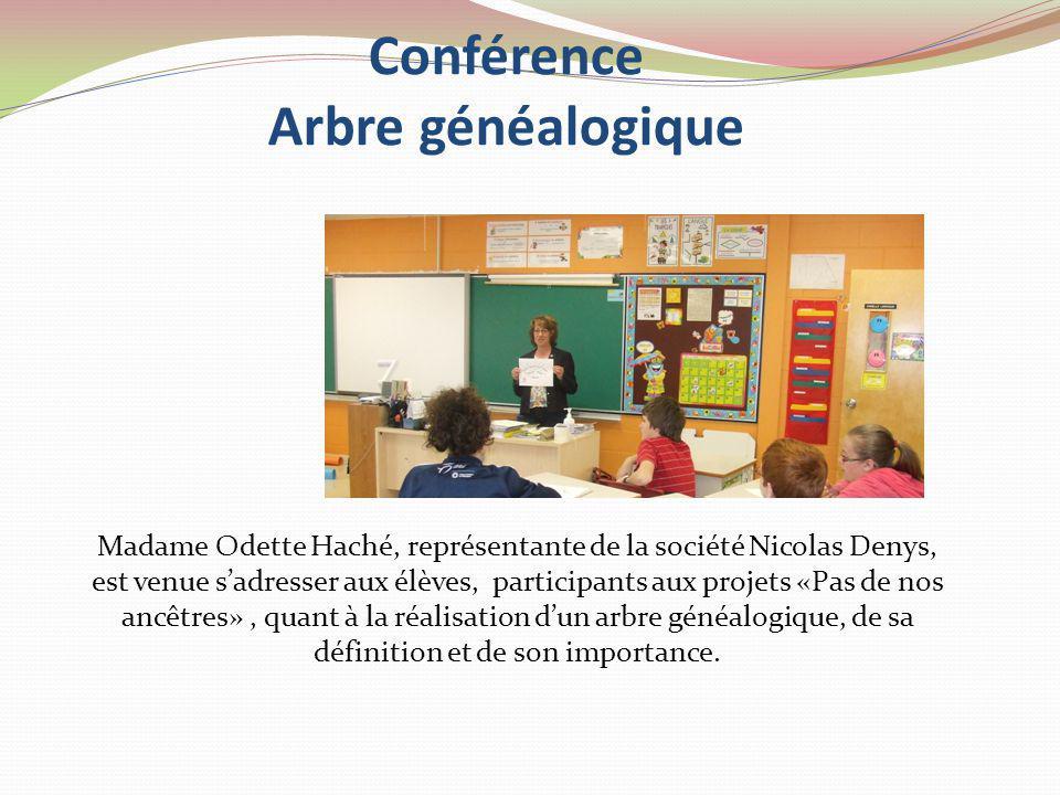 Conférence Arbre généalogique Madame Odette Haché, représentante de la société Nicolas Denys, est venue sadresser aux élèves, participants aux projets «Pas de nos ancêtres», quant à la réalisation dun arbre généalogique, de sa définition et de son importance.