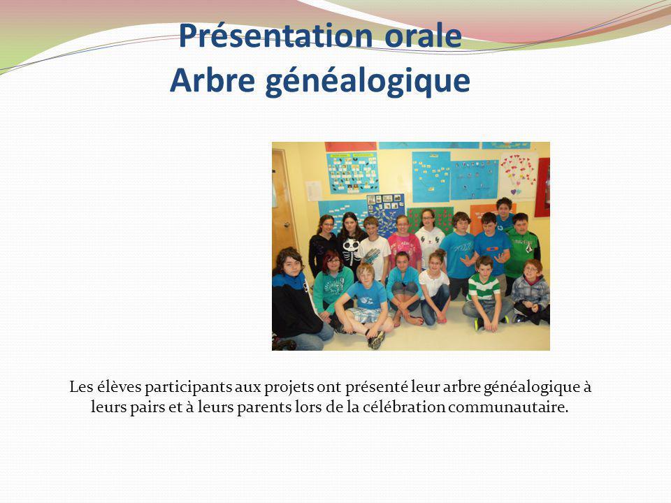 Présentation orale Arbre généalogique Les élèves participants aux projets ont présenté leur arbre généalogique à leurs pairs et à leurs parents lors de la célébration communautaire.