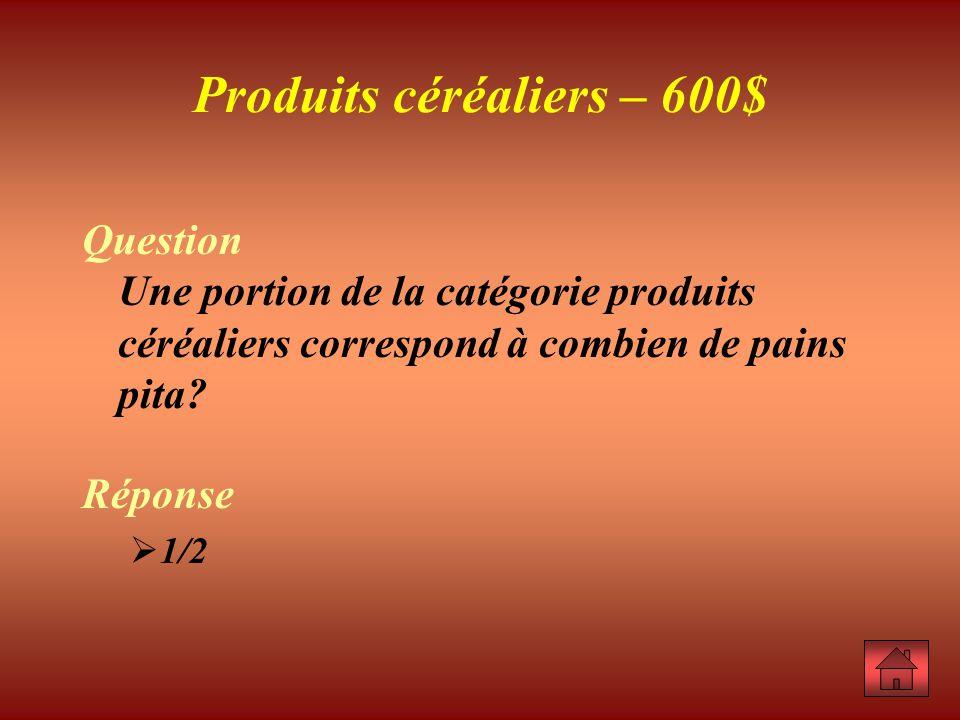 Question Une portion de la catégorie produits céréaliers correspond à combien de pains pita.