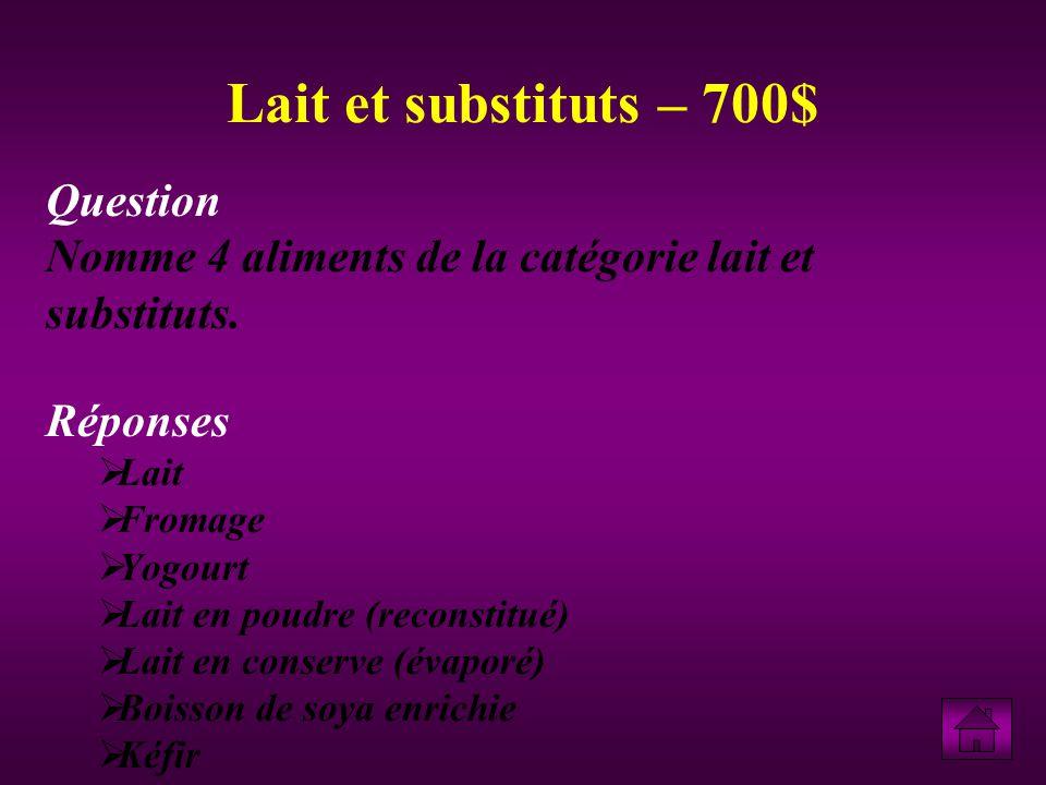 Question Nomme 4 aliments de la catégorie lait et substituts.