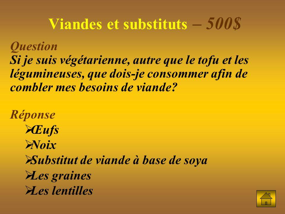Viandes et substituts – 500$ Question Si je suis végétarienne, autre que le tofu et les légumineuses, que dois-je consommer afin de combler mes besoins de viande.