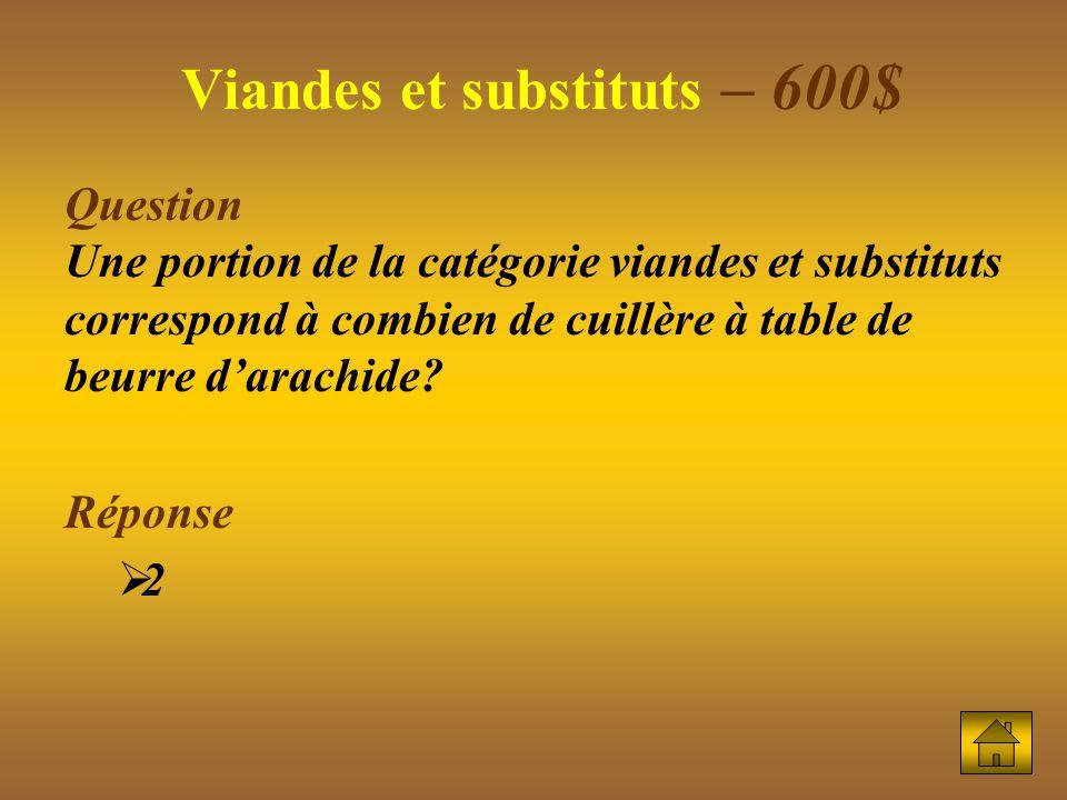 Question Une portion de la catégorie viandes et substituts correspond à combien de cuillère à table de beurre darachide.