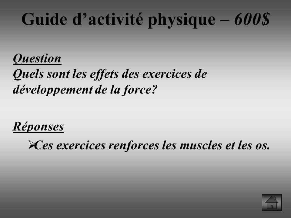 Question Quels sont les effets des exercices de développement de la force.