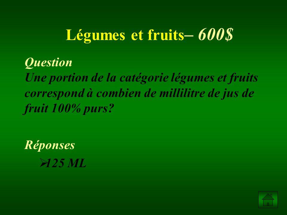 Question Une portion de la catégorie légumes et fruits correspond à combien de millilitre de jus de fruit 100% purs.