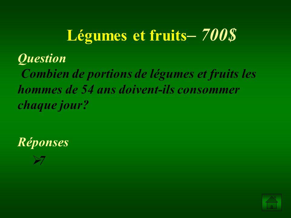 Question Nomme 5 aliments de la catégorie viandes et substituts.